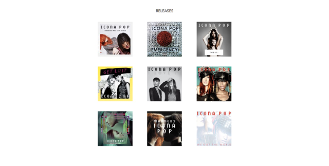 Artist page latest releases section.
