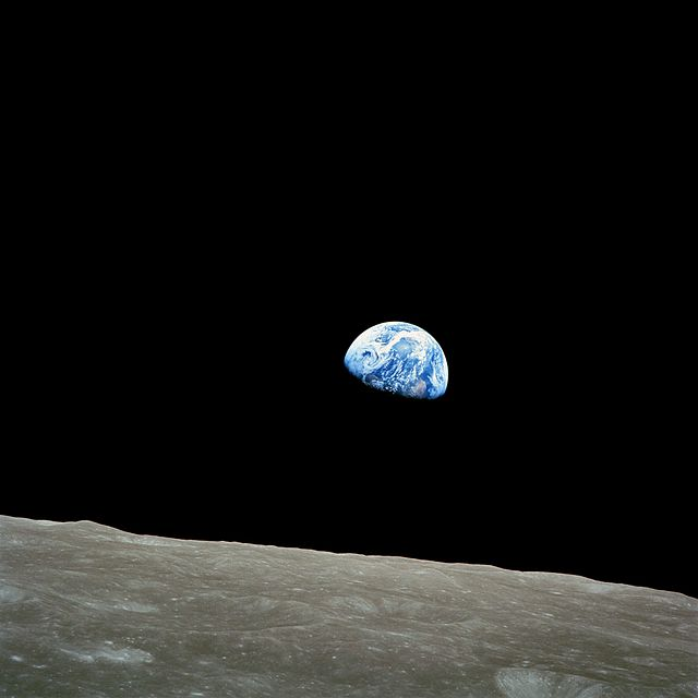 NASA image AS8-14-2383, taken by astronaut William Anders 1968 during the Apollo 8 mission, the first manned voyage to orbit the Moon