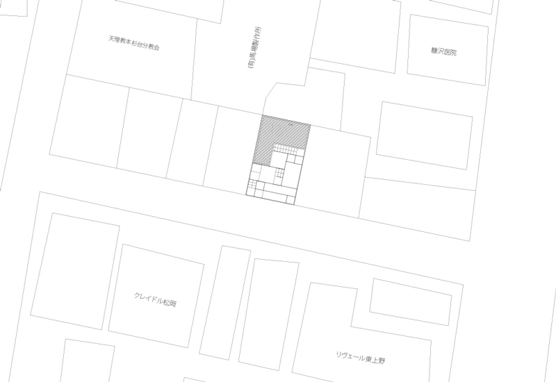 Siteplan. The house is located at 3 Chome-31-1 Higashiueno Taito-ku, Tokyo Japan.